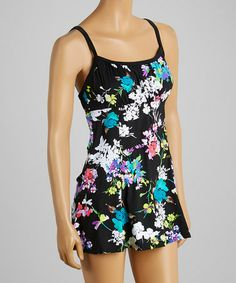 Love this Black Garden State Peasant Swimdress by It Figures! on #zulily! #zulilyfinds