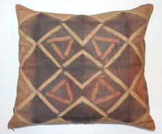 Tie Dye Kuba Raffia Cloth Pillow