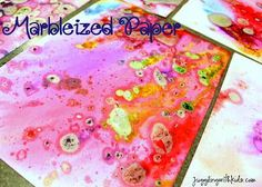 My kids are always wanting to paint, so I thought I would change it up a little by letting them make this marbleized paper that I found on Unplug Your Kids.  Now I can't lie…this was me…