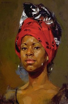 """Redhead"" - William Whitaker (b. 1943), oil on panel {figurative art beautiful female head scarf african-american black woman face portrait painting #loveart} williamwhitaker.com"