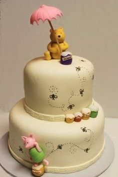 Baby Shower Cake Winnie The Pooh. Classic Pooh Bear Birthday Cake Cake By Jamie Hodges . Whimsical Winnie The Pooh Baby Shower Baby Shower Ideas . Home and Family Pretty Cakes, Cute Cakes, Beautiful Cakes, Amazing Cakes, Amazing Baby Shower Cakes, Super Torte, Bolo Moana, Gateau Baby Shower, Winnie The Pooh Cake