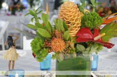 A Hawaiian Luau Centerpiece at the New England Aquarium.  Event design by Corinthian Events