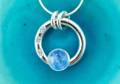 Silver Ring Necklace  Round Silver Necklace  Simple by MaryColyer