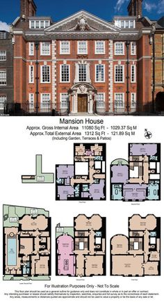 London's expensive homes for sale including one near Buckingham Palace Buyers are expected to return to the market now that Brexit looks certain after Boris Johnson's election victory. The eight-bed home, in St James's Park, is spread over seven floors. Minecraft Houses Blueprints, House Blueprints, Vintage House Plans, Modern House Plans, House Plans Mansion, House Floor Plans, Building Plans, Building A House, Architectural Floor Plans