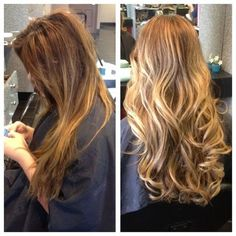 Balayage Highlights Before and After | From brunette balayage to blonde highlights by: Lexie