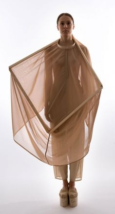 Sheer dress with soft draping fabrics & square structure framing the neck; 3D fashion // Mina Lundgren