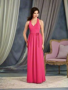 Alfred Angelo Style 7370L: long floor length bridesmaid dress with V-neckline and dramatic racer back detail. The waistline is accented with a small belt and a beaded bow.