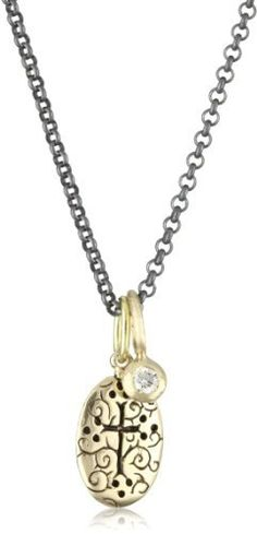 """Erica Molinari """"Renaissance"""" 14k Baby Double Cross Charm with 14k Diamond Dot Necklace Erica Molinari. $603.99. Hung on an oxidized chain for an amazing contrast. These charms are removable and can be worn alone or together. Erica's 14k double cross features a beautiful engraved swirl pattern as a background with just the opposite dramatic relief on the other side, paired with a 14k diamond dot. Made in United States. The sterling silver oxidized cable chain has an..."""