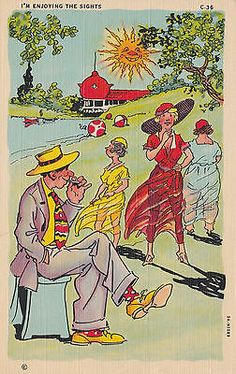"""I'M ENJOYING THE SIGHTS"". COMIC VINTAGE POSTCARD UNUSED"
