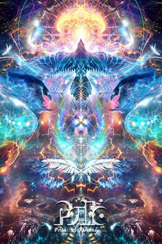 Soul Seeker by psilotericvisions on DeviantArt Psychedelic Art, Art Fractal, Fractals, Art Visionnaire, Raven Art, Psy Art, Spiritus, Visionary Art, Sacred Art