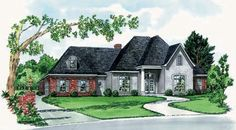 House plan with 3 Bedrooms, 2 Baths  Split Bedroom Plan, Unfinished Bonus Room, Fashionable French Styling  Covered Back Porch  Separate Shower &  Whirlpool Tub in Master  Walk-in Closets in all Bedrooms  Garage Features Ample Storage & Trash Ledge. Great home design floor plan!     Living Area 1,672 sq. ft.  Bonus Room 282 sq.ft.  Total Area 2,628 sq.