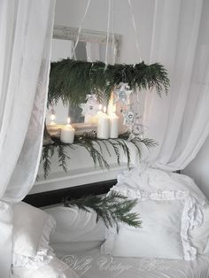 White on white is just delightful with a touch of evergreen.