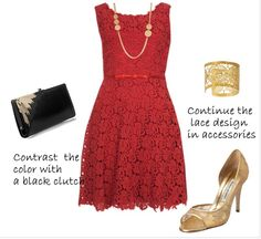 how to wear a lace dress to dinner | Style-Delights: How To Style A Red Lace Dress