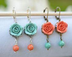 Coral Rose Earrings Coral Flower Earrings Spring by Diaszabo