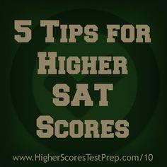 Higher Scores Test Prep's 5 top tips for higher SAT scores. http://www.HigherScoresTestPrep.com/10  #HigherScores #HigherSATScores #SAT