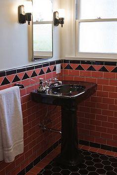 Retro Badezimmer, 1920 S 1930 S 1940 S Badezimmer, Art Deco Badezimmer,  Vintage Fliesen, Bad Fliesen, Badezimmer Ideen, Retro Bereiche, Bad  Inspiration, ...