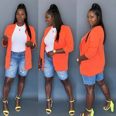 Going into spring Orange Blazer Outfits, Spring Outfits Women, Short Outfits, Summer Outfits, Blazer Jeans, Black Ponytail Hairstyles, Fashion Dolls, Fashion Outfits, Grown Women