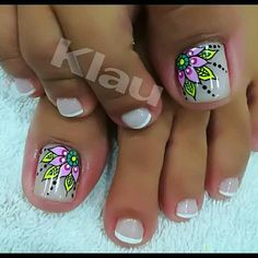 Elida Pedicure Designs, Pedicure Nail Art, Toe Nail Designs, Toe Nail Art, Acrylic Nails, Gorgeous Nails, Pretty Nails, Summer Toe Nails, Beach Toe Nails