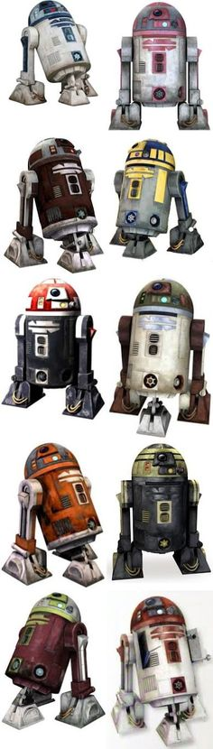 A sampling of some R-Series Astromechs that are seen in the Clone Wars.
