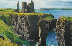 Castle Sinclair Girnigoe, located about 3 miles north of Wick on the east coast of Caithness, Scotland