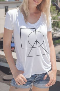 Women's V-Neck Peace Sign Tee Love Clothing, Peace And Love, V Neck, Sign, T Shirts For Women, Elegant, Tees, Casual, Cotton
