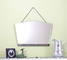 Vintage Art Deco Frameless Bevelled Wall Mirror 20s 30s Intricate Inlaid Floral