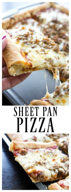 Sheet-pan-pizza-pin - eta: made this, very easy, very tasty crust. I didn't have bread flour so just used regular flour, still good! Def a keeper will def like again. Pizza Recipes, Easy Dinner Recipes, Cooking Recipes, Easy Recipes, Pan Cooking, Flatbread Recipes, Sauce Pizza, Pizza Pizza, Pizza Party
