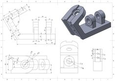 Übung 81 - Cad works done - Autocad, Sheet Metal Drawing, Solidworks Tutorial, Mechanical Engineering Design, Youtube Drawing, 3d Cad Models, Geometric Drawing, Industrial Design Sketch, 3d Printing Technology