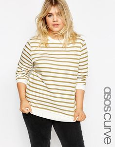ASOS+CURVE+Ultimate+Boyfriend+Sweat+Top+in+Stripe