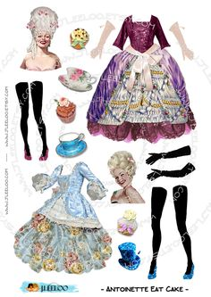 Digital sheets   ANTOINETTE EaT CAKE   paper doll digital sheets for journal page atc aceo scrapbooking  download png and jpeg files / PP178. $3.70, via Etsy.