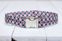 Plaid Dog Collar  Valentines Day Black Red Gray by ZaleyDesigns, $25.00