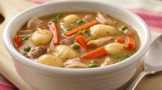 Enjoy this slow cooked chicken and vegetable soup that's made using gnocchi, Progresso® chicken broth and peas - perfect for dinner.
