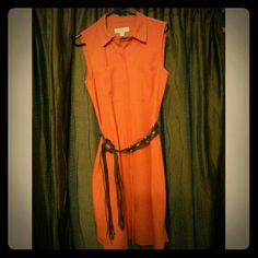 Michael Kors dress Orange, sleeveless, button down, knee length dress. Two breast pockets, side slits. New without tags. Michael Kors Dresses
