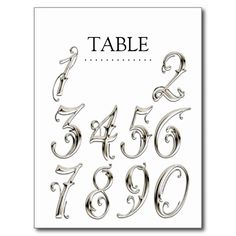 Any Color Table Numbers Fancy Silver