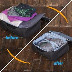 7e1d271b99fb 8 Travel Storage Bags for Clothes - No Vacuum or Pump Needed -Reusable  Space Saver Packing Sacks (4 items - 28x20