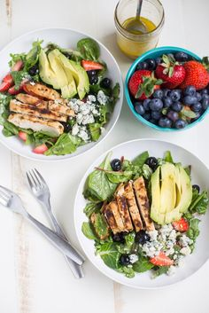 Gorgonzola Chicken Salad with Berries and Avocado is a healthy salad full of fresh fruit, gorgonzola, super greens and homemade honey balsamic vinaigrette!