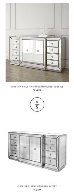 @horchow Shilo Two-Door Mirrored Console $2,059 Vs @zgallerie Omni Mirrored Buffet $1,599