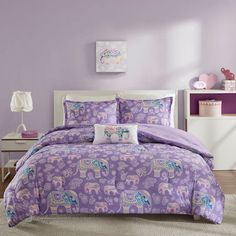 Lavender Purple Elephant Bedding for Girls Twin XL Full/Queen Comforter or Quilt Set with Pillow