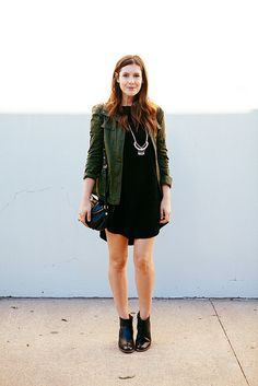 Black dress | Cargo/Military Jacket | Black Booties