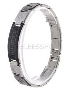 (HLBR010-BLACK) Black Silver Two-Tone Logo Patched Stainless Steel Bracelet