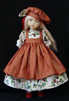 """Holiday Gold & Red OOAK Outfit for Effner 13"""" Little Darling ~ Glorias Garden"""