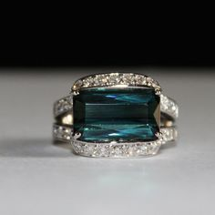 Stunning rare & natural-8.50ct indicolite blue-green Tourmaline ring....hands of its mine ...lol