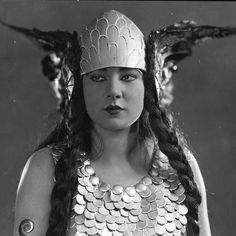 """A beautiful studio handout of actress Nita Naldi in costume as ""Brunhilde"", December 1923.  A silent-film star, she was typecast most often as a vamp.…"""