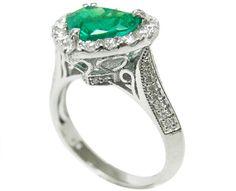 Heart shaped emerald engagement ring 14k white gold
