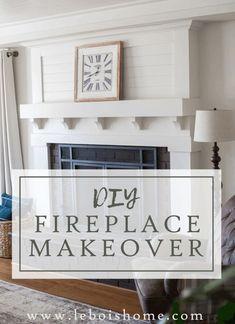 Fireplace Makeover • Le Bois Home Reface Brick Fireplace, Brick Fireplace Remodel, Fireplace Update, Brick Fireplace Makeover, Home Fireplace, Fireplace Design, Living Room Built Ins, Home Living Room, Living Room Remodel