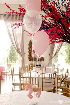 Carousel-inspired balloon bunch centerpiece from an Enchanted Carousel Birthday Party on Kara's Party Ideas | KarasPartyIdeas.com (30)