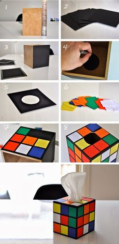 If you like DIY projects and Rubik's cubes, here's one for you! Create your own tissue box cover. It seems pretty simple, and if you want to seal the paper, check out some sealants at your local craft store. Tutorial from Diy Art Crafts