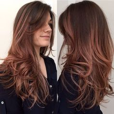 rose gold ombre Hair Color And Cut, Ombre Hair Color, Ombre Rose, Ombré Hair, Hair Dos, Rose Hair, Rose Gold Hair Brunette, Locks, Auburn Hair