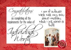 Individual Worth value Ribbon Certificate- free printable for when a YW passes off Individual Worth