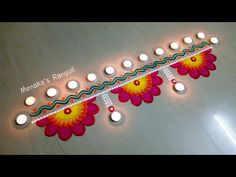 Rangoli is an art form, originating in the Indian subcontinent, in which patterns are created on the floor in living rooms or courtyards using materials such. Easy Rangoli Designs Videos, Rangoli Designs Simple Diwali, Happy Diwali Rangoli, Simple Rangoli Border Designs, Rangoli Simple, Indian Rangoli Designs, Rangoli Designs Latest, Rangoli Designs Flower, Free Hand Rangoli Design